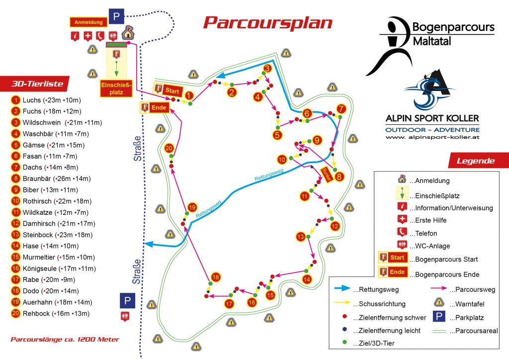 Parcoursplan Bogenparcours Maltatal